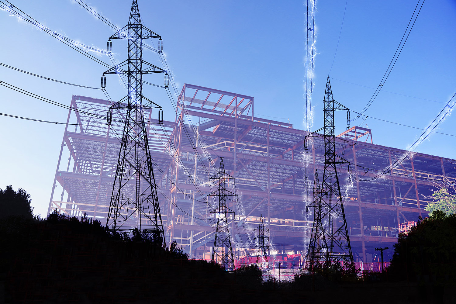 Construction Industry Electrification in Blue - RF Stock Photo
