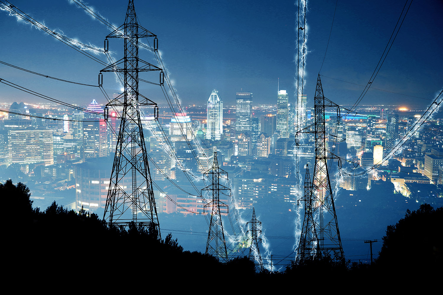 Metropolitan Electrification in Blue - RF Stock Photo
