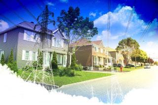 Residential Street Electrification on White - RF Stock Photo