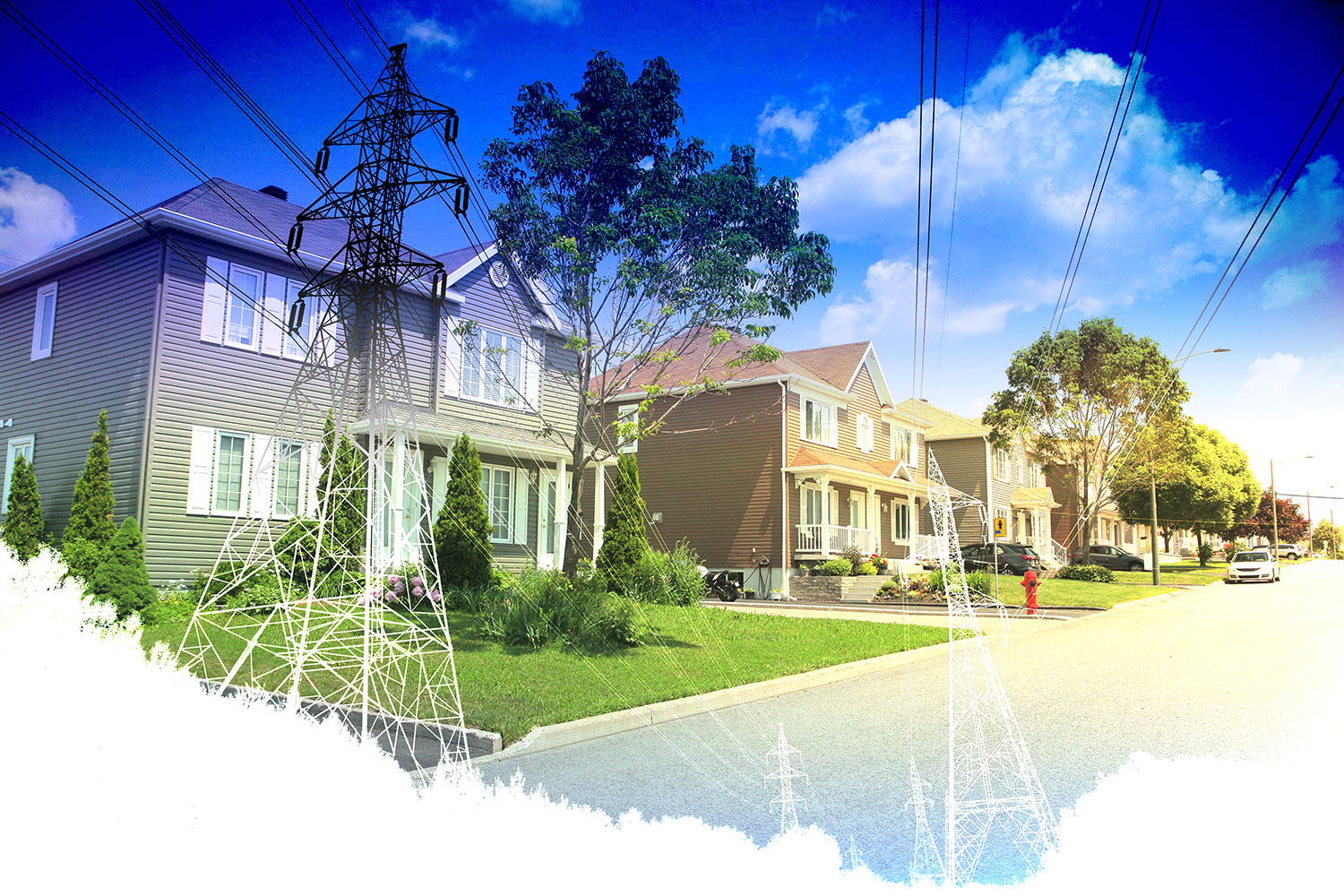Residential Street Electrification on White - RF Stock Photo
