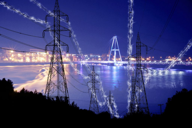 Small Town Electrification at Night in Blue - RF Stock Photo