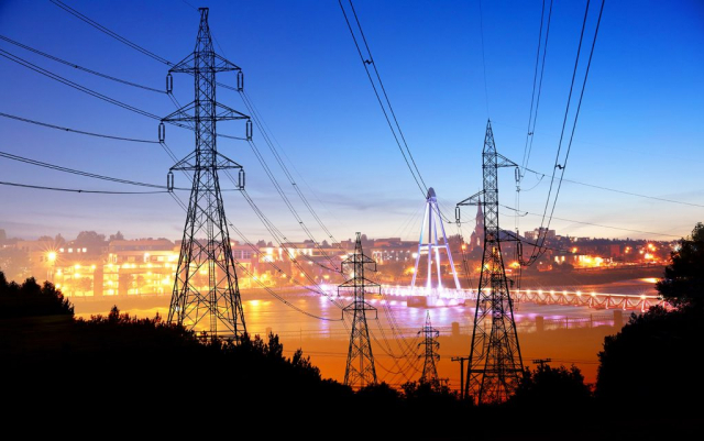 Small Town Electrification at Sunset - RF Stock Photo