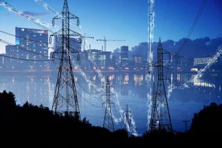 Urban Electrification Concept in Blue - RF Stock Photo