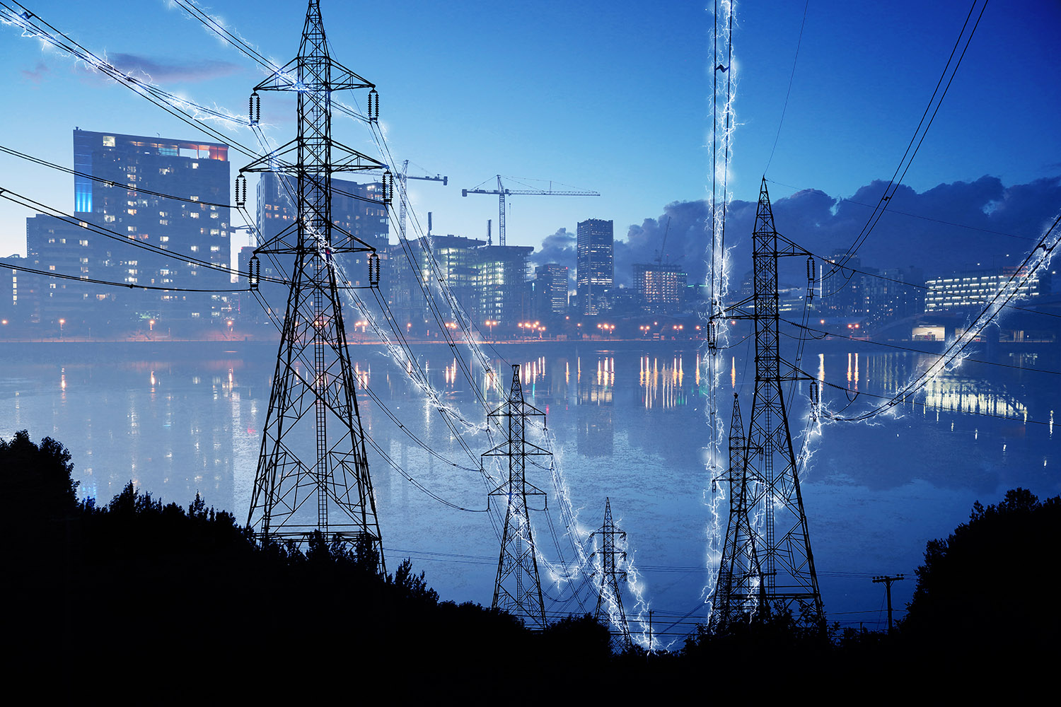 Urban Electrification Concept in Blue - RF Stock Photo
