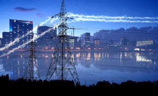 Urban Electrification in Blue - RF Stock Photo