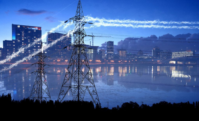 Urban Electrification in Blue - RF Stock Photo