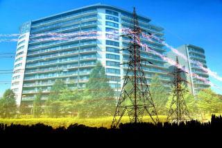 Urban Residential Building Electrification Concept - RF Stock Photo