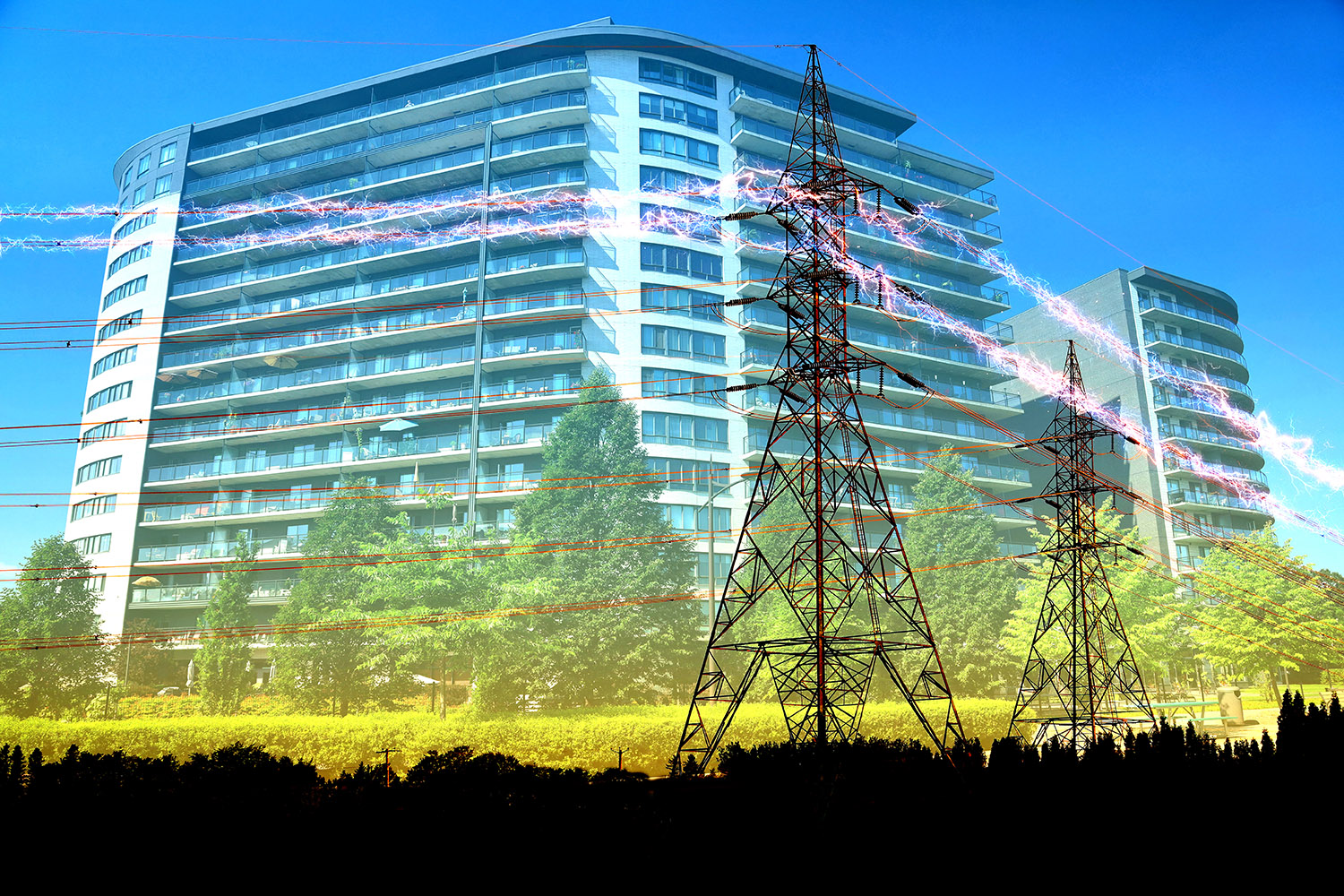 Urban Residential Building Electrification Concept - RF Stock Photo