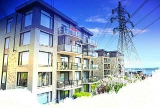 Urban Residential Electrification on White - RF Stock Photo